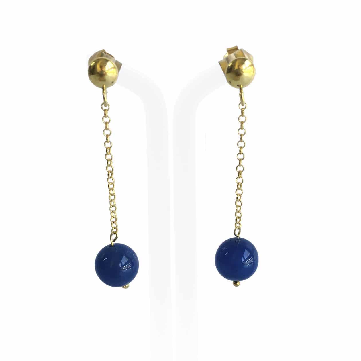 Pendientes de Agata azul y plata chapada en oro 18K, hechos a mano.  Pieza exclusiva.